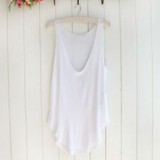 Womens Ladies V-Neck Vest Summer Loose Sleeveless Tank T-Shirt Tops Blouse Tee