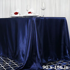 "1 pc Navy Blue 90x156"" RECTANGLE Satin TABLECLOTH Wedding Party Banquet Linens"
