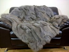 Luxury Real Silver Fox Throw Blanket