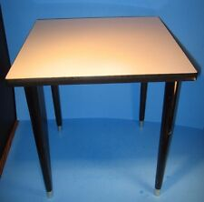 MCM SIDE ACCENT TABLE PLANT STAND WHITE FORMICA TOP BLACK TAPERED WOOD LEGS GOLD