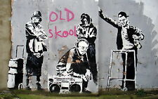 "BANKSY GRAFFITI ART OLD SCHOOL MUSIC Wall Art Canvas Picture 20""x30"""