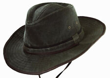 RUGGED Australian Style UV SUN BLOCK Outback-Cotton CANVAS Hat-UPF50 GREEN-Large