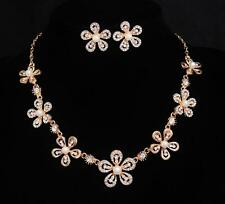 Flower 14k gold plated necklace+earrings white pearl women's jewelry sets gift