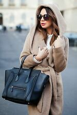 ZARA DARK CAMEL BELTED WOOL COAT JACKET WITH HOOD SOLD OUT NEW SIZE LARGE L NEW