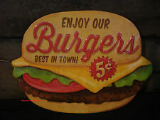METAL HAMBURGER SIGN* drive in cafe restaurant snack retro-vintage-style cinema