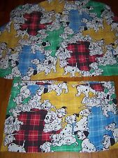 VINTAGE DISNEY 101 DALMATIONS FLANNEL TWIN FITTED SHEET & PILLOWCASE