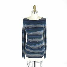 M - BAILEY 44 Anthropologie Navy Striped Flattering Ruched Soft Shirt Top 0000MB