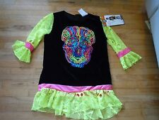 Holiday Costume Youth Neon Skeleton Shirt only Leggings & Mask Not included L