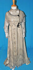 ANTIQUE DRESS c1908-12 FORMAL SILVERY BEADED EVENING GOWN MUSEUM DE-ACCESSIONED
