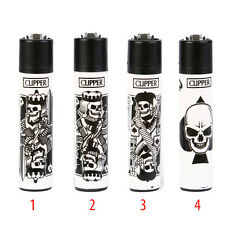 ★1 ACCENDINO CLIPPER GAS LARGE SKULL CARDS RICARICABILE LIMITED VARI COLORI★