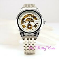 Automatic Mechanical Wind-Up Skeleton Steampunk Silver Rhodium Pltd Unisex Watch
