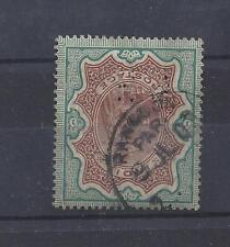 INDIA: SG# 108- Queen Victoria 3 Rupees Used from RANGOON Burma w B R Perfin