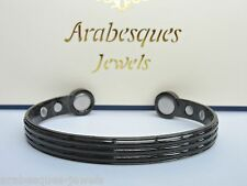 ARABESQUES High strength Mens copper BIO magnetic bangle/bracelet. Black ajmb