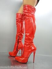 MORI ITALY PLATFORM HEELS OVERKNEE BOOTS STIEFEL STIVALI LEATHER RED ROSSO 44