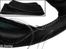 Pour PEUGEOT 206 Noir Cuir véritable Couverture volant blanc broder (1998-2010)