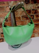 GAP APPLE GREEN GENUINE LEATHER SHOULDER BAG TOP ZIP (OCT9HHH)