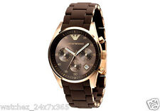 EMPORIO ARMANI CHRONOGRAPH LADIES WATCH AR5891 GOLD TONE BODY BROWN & GOLD BAND
