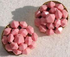 OHRRINGE ROSA Clips Ohrclips Rockabilly True VINTAGE Gold 50er 60er Perlen