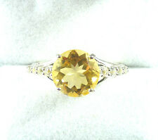 3.72ctw Natural Citrine & White Topaz Solid 925 Sterling Silver Cocktail Ring