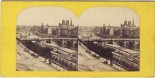 Paris panorama et Fontaine St Sulpice 2 Stéréos contrecoillées Vintage Albumine