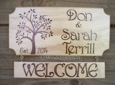 Personalised 2 part Handburnt timber  tree style Home House Family Welcome sign