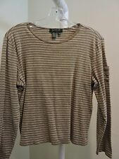 Banana Republic 100% Cotton Brown and White Striped Top - Size - Petite Large