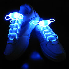 Blue LED Flash Luminous Shoelaces Light Up Glow Waterproof Shoelaces Disco Party