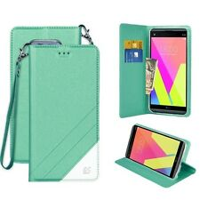Mint Green Flip Folio Style Case w/Magnetic Closure+ID Slots Cover for LG V20