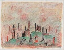 SURREALIST CORNISH TIN MINE CHIMNEYS Drawing ARTHUR MITSON c1985 SURREALISM