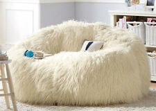 Large White Shaggy Faux Fur Long Fur Beanbag Cover Plush Bean Bag Chair 116cm(D)