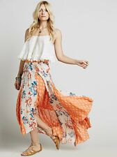 129349 New $128 Free People Show You Off Printed High Low Long Maxi Skirt S
