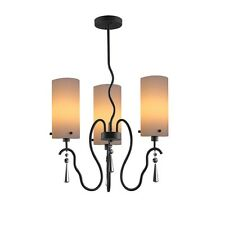 Woodbridge Lighting Haley 3-Light Chandelier, Faux Opal Glass - 14213BLK-C10401