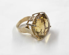 Unique Vintage 14k gold Massive 48ct Natural Citrine, statement cocktail ring