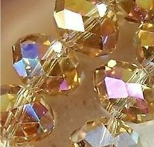 New 100pcs Gold Champagne AB Faceted Austria Crystal Gemstone Loose Beads 4X6mm