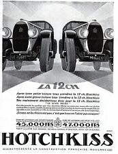 AUTOMOBILE FRENCH MAG AD 1928 HOTCHKISS TWO MODELS SIGNED A. KOW