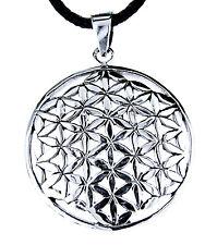 Blume des Lebens Anhänger 925 Silber mit Band od. Kette Flower of Life Harmonie