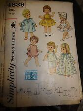 """Vintage 1960's Simplicity Pattern #4839 Doll Clothes for 15"""" & 18"""" Dolls"""