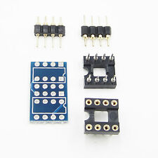 Dual DIP8 to DIP8 Mono Opamp PCB+Pin+Socket for TL072 P07 OPA2132 OPA627 NE5532