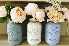 SET OF 3 SHABBY CHIC PAINTED MASON JARS 1LITRE, VASE, WEDDINGS, VINTAGE, FLOWERS