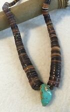 Vintage Old Pawn Navajo Silver Genuine Turquoise Heishi Bead Necklace 14.5""