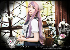 japan lolita VISUAL cosplay lavender milktea baby Pink ombre highlight wig