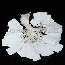 100 White Pre-Strung Price Tags String Ticket Blank Pricing Tie On Jewelry Label