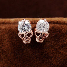 Women Vintage Crystal Diamond Rose Gold Skull Pierced Ear Stud Earrings Jewelry