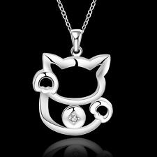 Sterling Silver Money Funny Cat Chic Pendant Necklace For Women Gift