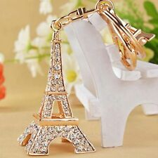 Fashion Crystal Rhinestone Eiffel Tower Shaped Pendant Gold Key Chains Ring Gift