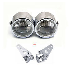 Chrome Twin Dominator Headlight Motorcycle Dual Lamp With Mount Bracket Street