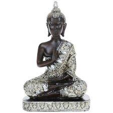 SILVER THAI SITTING BUDDHA ORNAMENT ORIENTAL DECOR NEW BOXED GIFT - SMALL