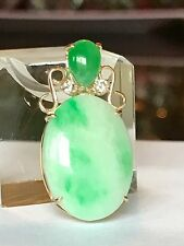 Large Green Jade And Diamonds In 18k Gold Pendant ( No Chain )