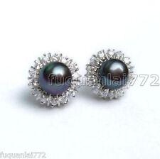 10mm Akoya Black Natural Seashell Pearl Earring AAA