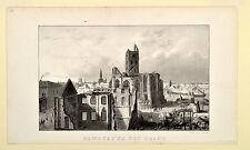 Hamburg nach dem Brand Feuer alte Ansicht Original Lithografie um 1850